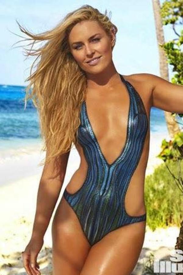 Lindsey Vonn posiert mit Bodypainting für die Sports