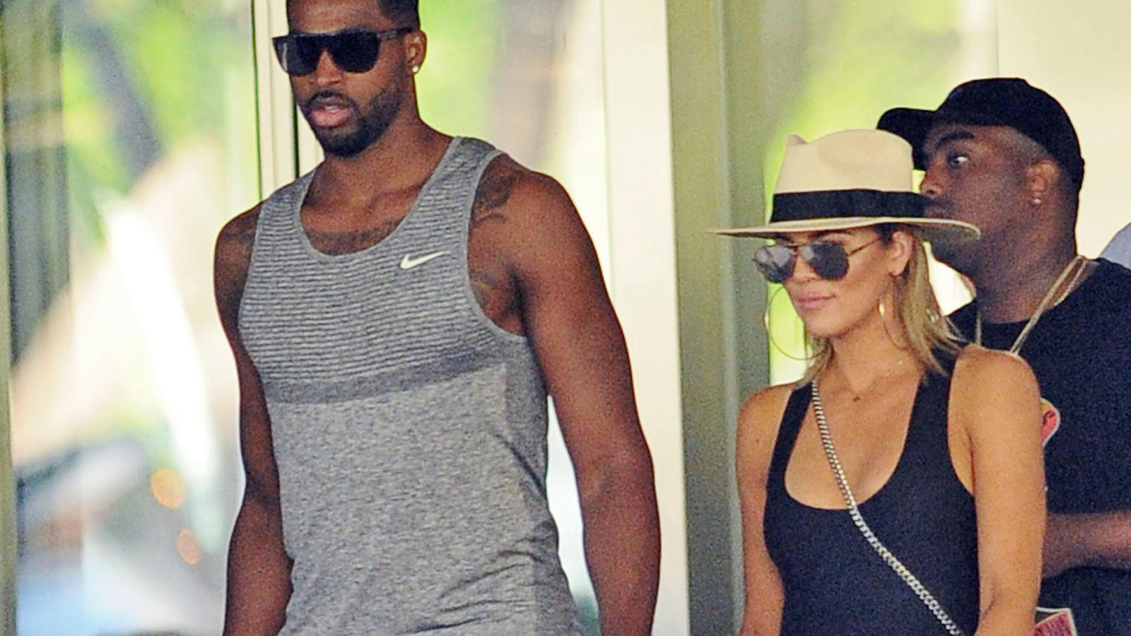 Tristan Thompson holds hands with Khloe Kardashian after shopping at Bal Harbor Shops in Bal Harbor, FL.