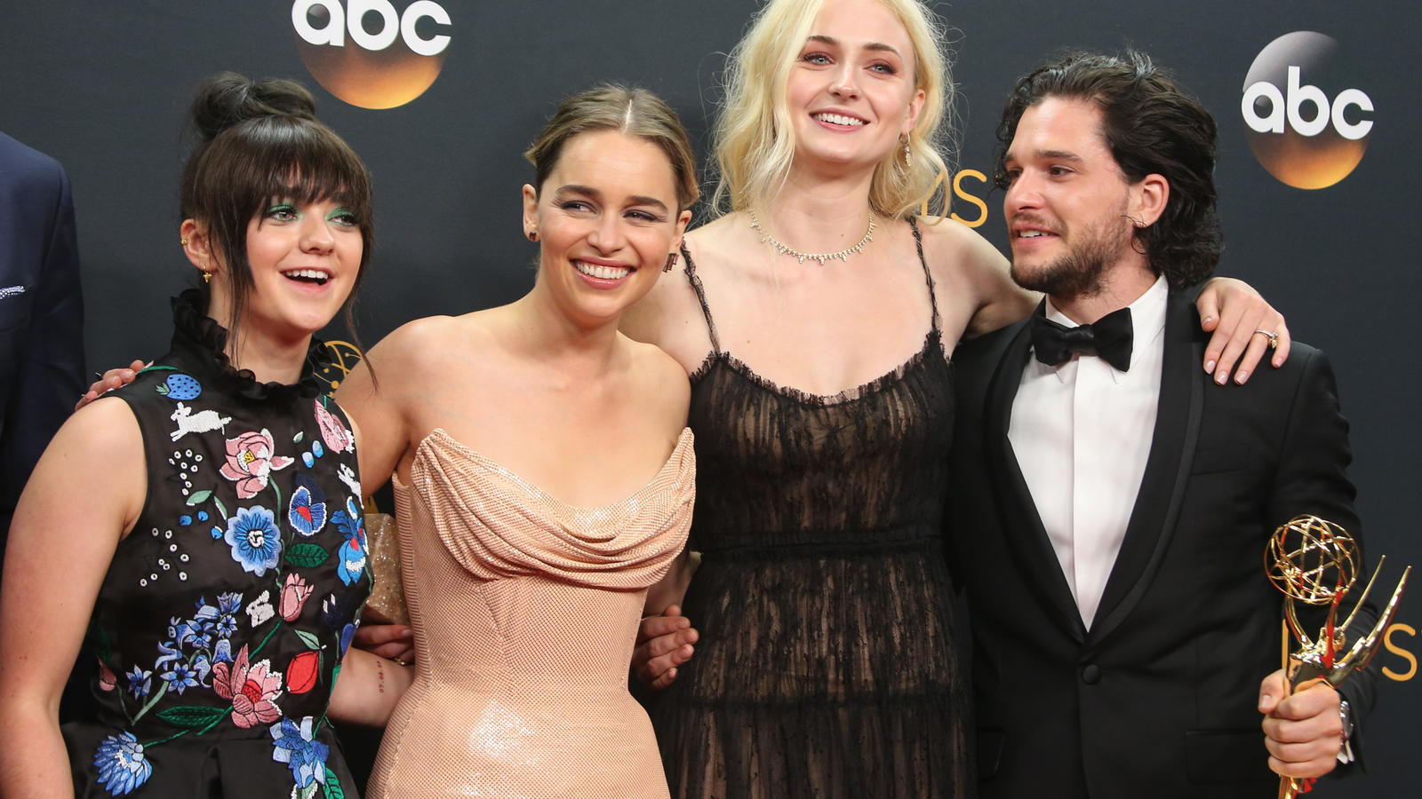 68th Annual Primetime Emmy Awards - Press Room at the Microsoft TheatreFeaturing: Maisie Williams, Emilia Clarke, Sophie Turner and Kit HaringtonWhere: Los Angeles, California, United StatesWhen: 19 Sep 2016Credit: FayesVision/WENN.com
