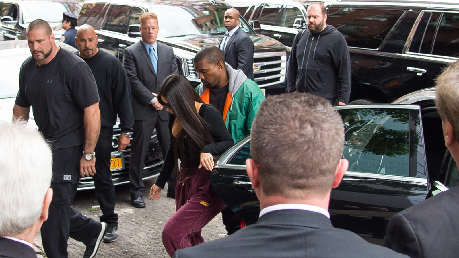 Kim Kardashian and Kanye West are seen in Tribeca in New York City the day after Kim was robbed at gunpoint in Paris.