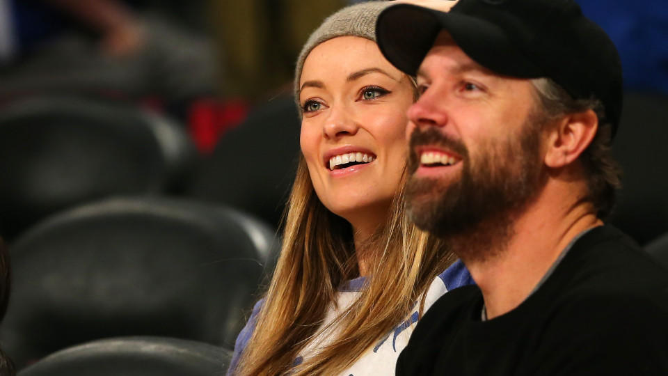 TORONTO, ON - FEBRUARY 13: Actors Olivia Wilde and Jason Sudeikis attend the Verizon Slam Dunk Contest during NBA All-Star Weekend 2016 at Air Canada Centre on February 13, 2016 in Toronto, Canada. NOTE TO USER: User expressly acknowledges and agrees