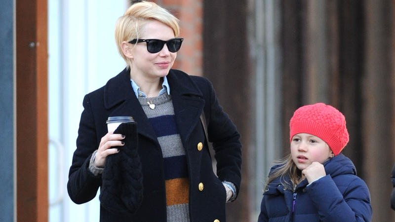 EXCLUSIVE: Michelle Williams and Matilda Ledger walk their dog while going on a coffee run with a female friend in Brooklyn, New York.