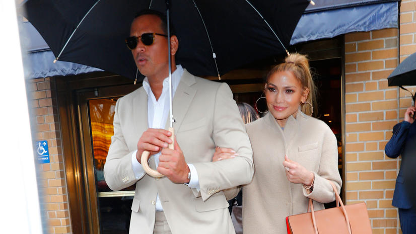 First New York shots of Jennifer Lopez and Alex Rodriguez 'JROD' wearing matching color outfits when departing Marea restaurant after having romantic lunch