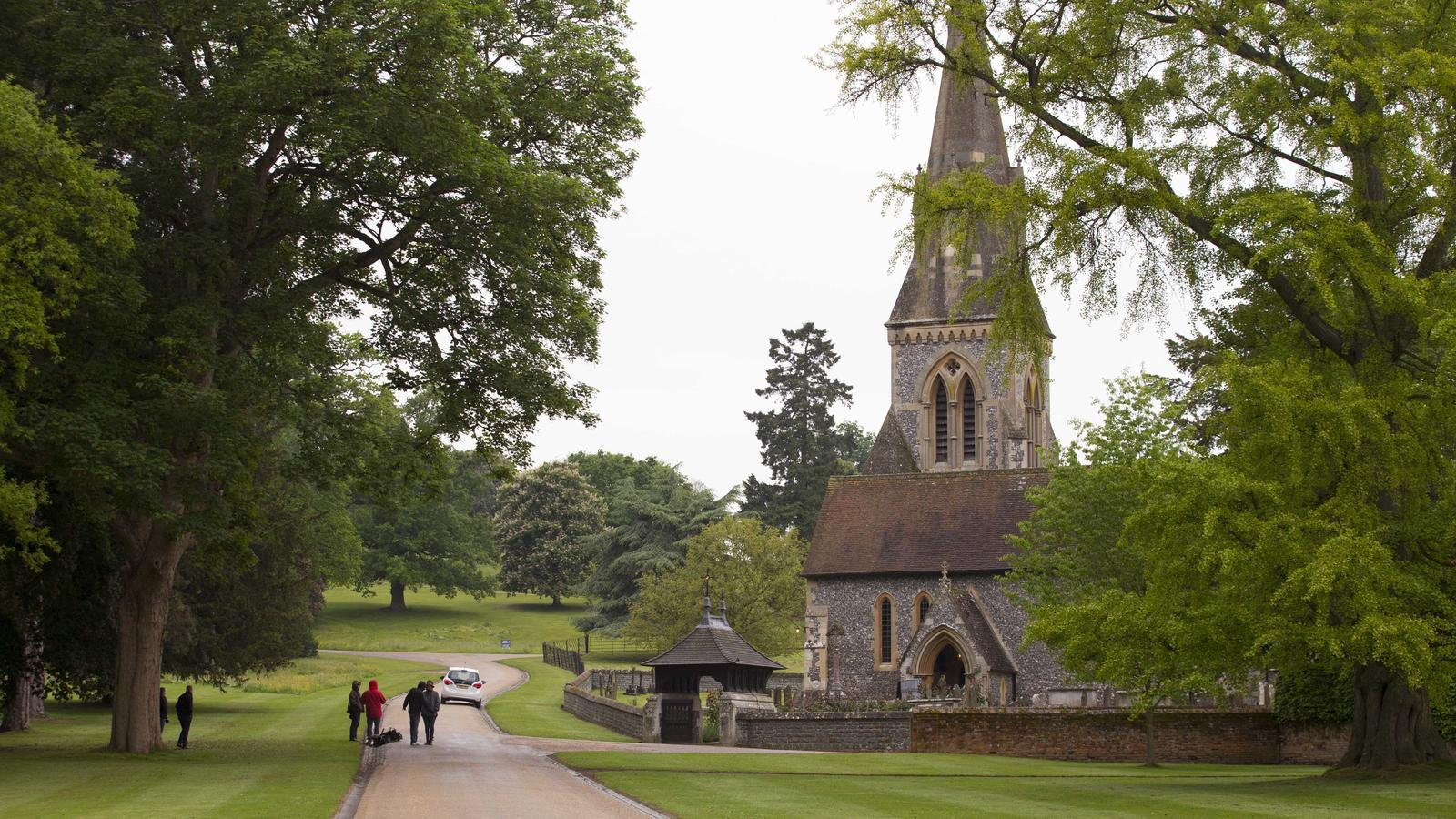 Security begin to secure the area around St Mark Church in Englefield the day before Pippa Middleton's wedding to James Middleton