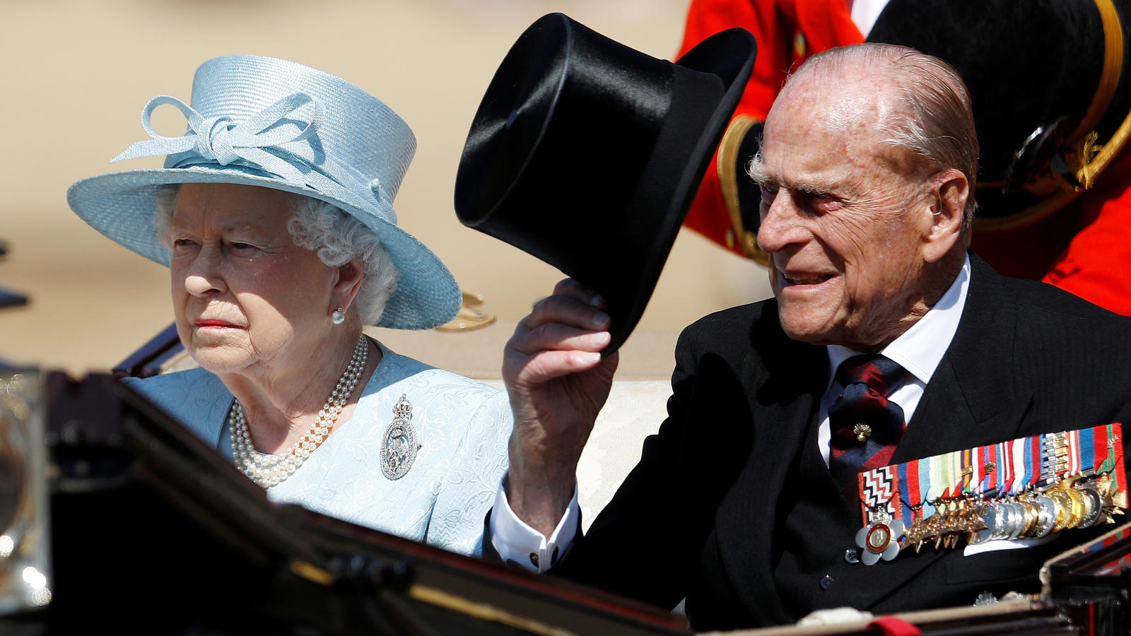 FILE PHOTO: Britain's Queen Elizabeth and Prince Philip attend Trooping the Colour in London, Britain, June 17, 2017. REUTERS/Peter Nicholls/File Photo