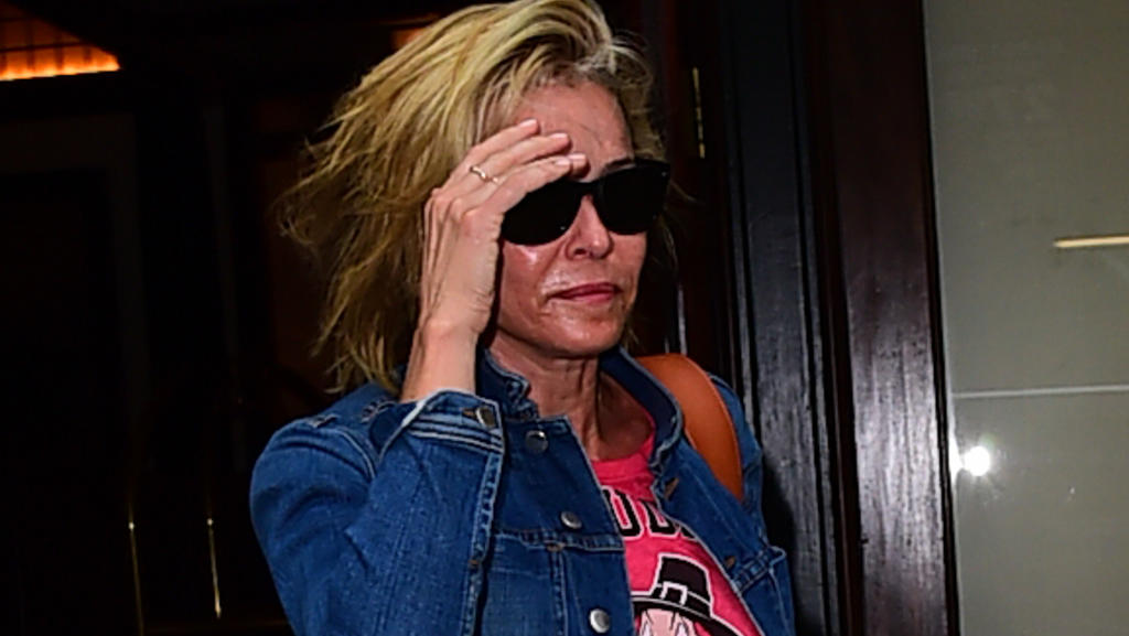 Chelsea Handler goes make up free as she is spotted leaving a hotel in New York City, New York.